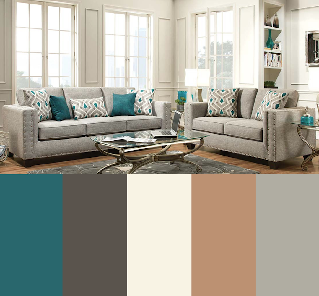 Teal Gray Sand Charcoal Ivory Color Palette For Living Room