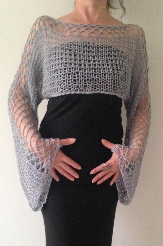 Beschnittenen Pullover abgeschnitten grauen Pullover abgeschnitten oben abgeschnitten Sommer oben leicht oben Lose stricken Boho Ernte oben häkeln Pullover Wickeltop