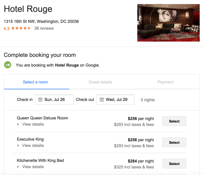 Google Tests Direct Hotel Booking With Images Booking Rouge