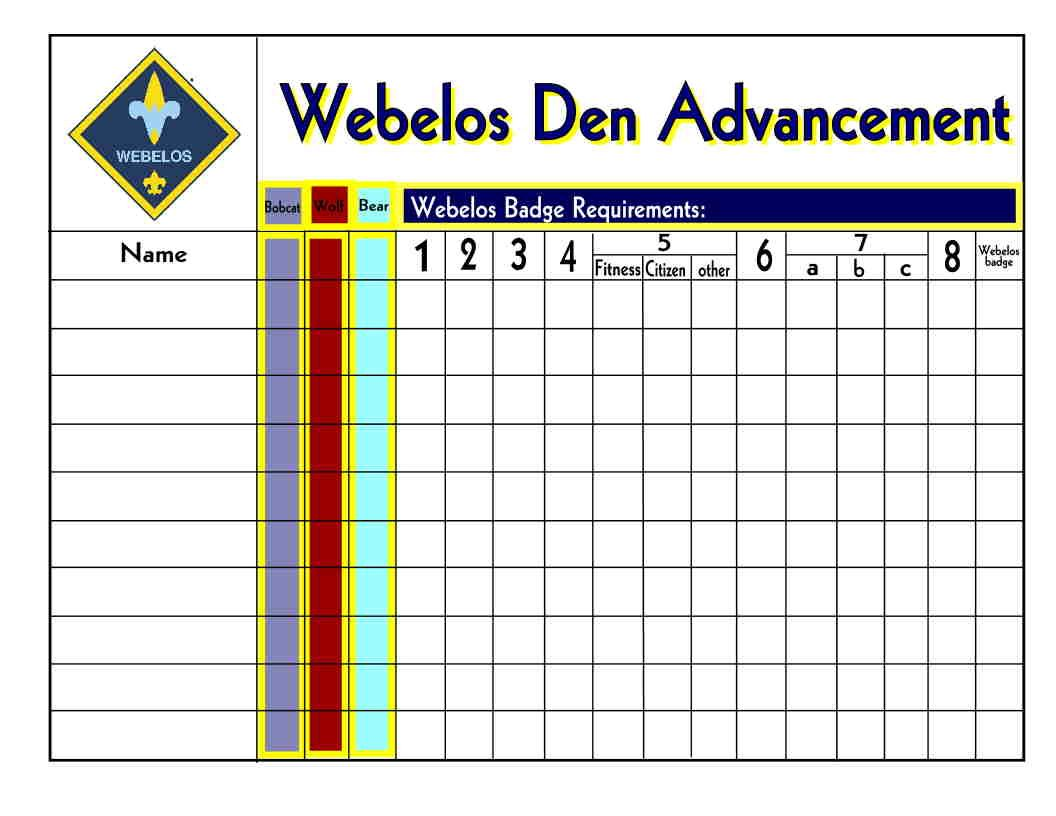 worksheet Webelos Fitness Worksheet 78 images about cub scouts record keeping on pinterest wolves belt and activities