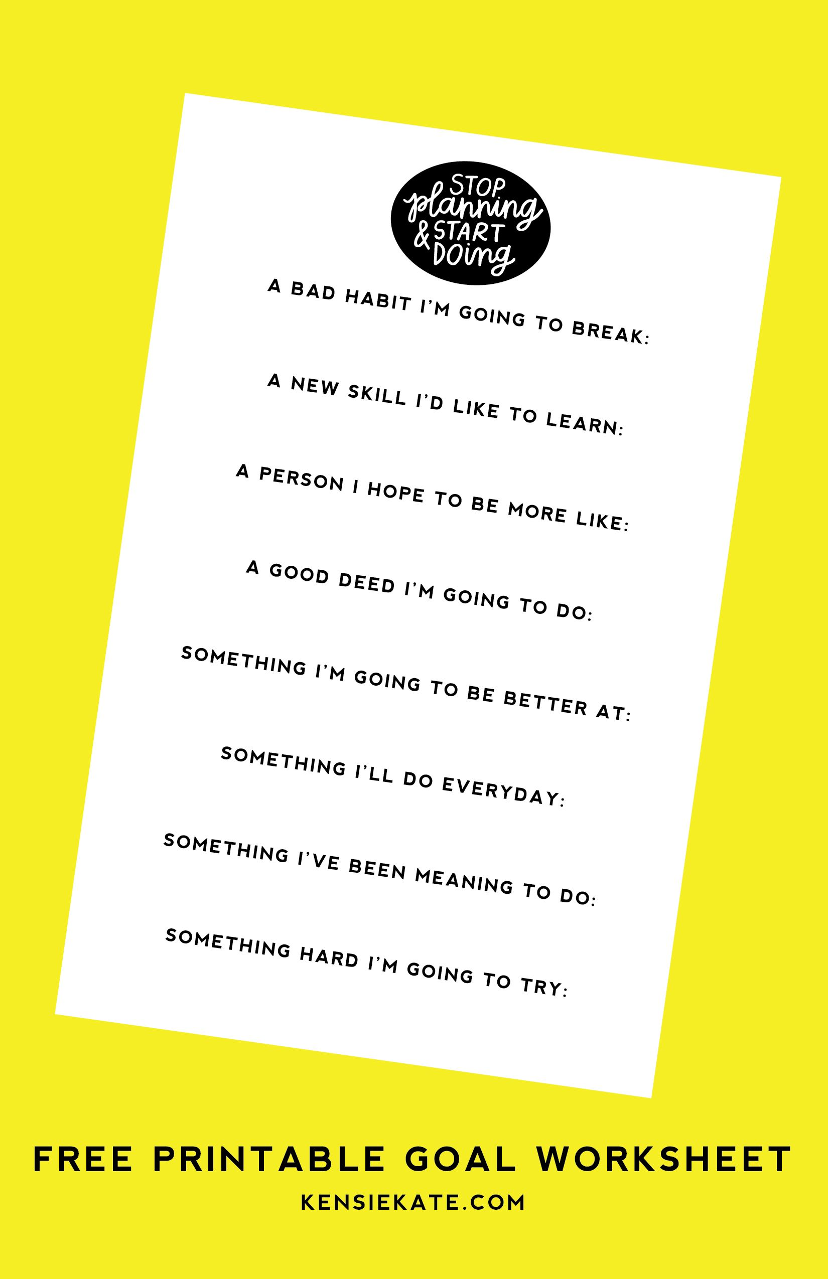 Free Printable Goal Worksheet Kensie Kate