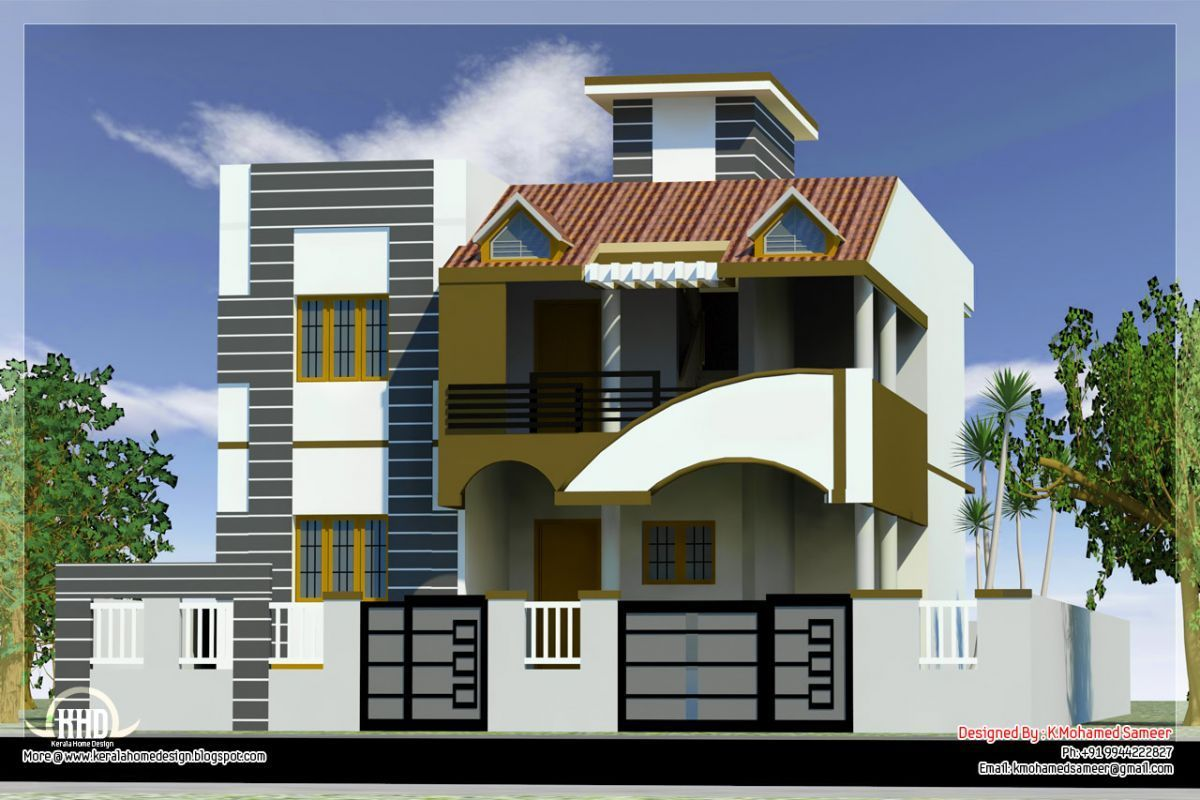 Modern House Front Side Design India Elevation Design 3d1