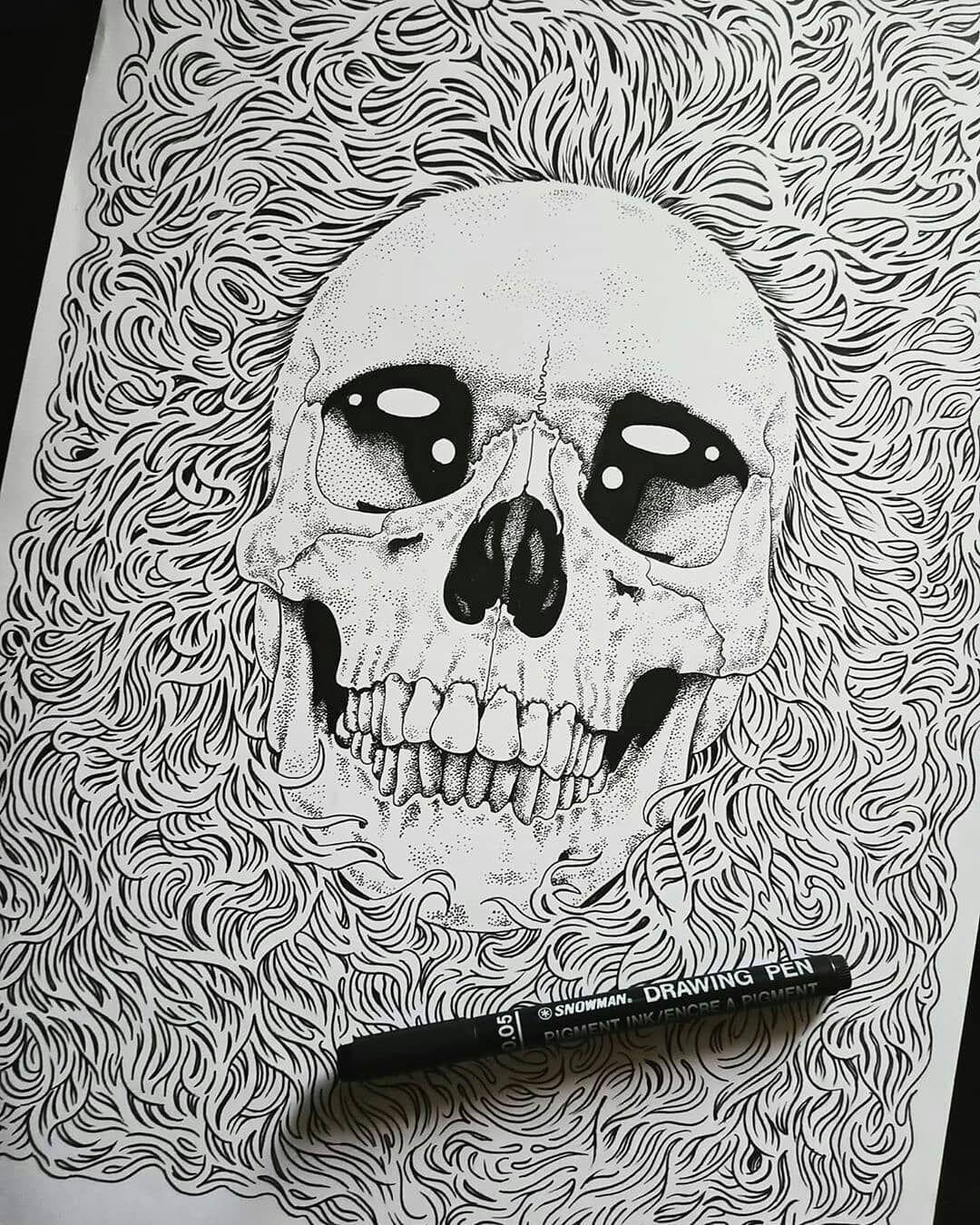Reposted from @gilangsaharaart Keep smiling  #art #drawing #instaart #artwork #dotwork #skull #design #illustration #instaartist #draw #hatching #blackwork #blackandwhite #pointilism #sketch #lineart #dotworkers #crosshatcing #thrashmetal #graphicdesign #metal #longhair #indonesia - #regrann