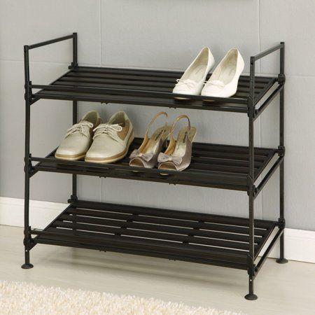 neu home 3 tier shoe rack in espresso - walmart | ide