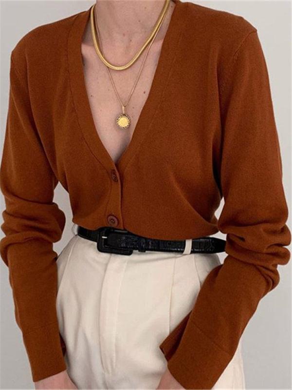 Women S V Neck Solid Color Cardigan Dwq08 Nicolemove Com Fashion Sweater Fashion Fashion Outfits