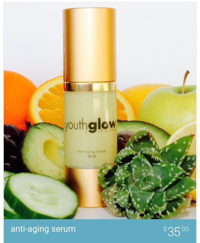 Anti aging serum full of organic antioxidants to soften fine lines and wrinkles. www.youthglowskincare.com