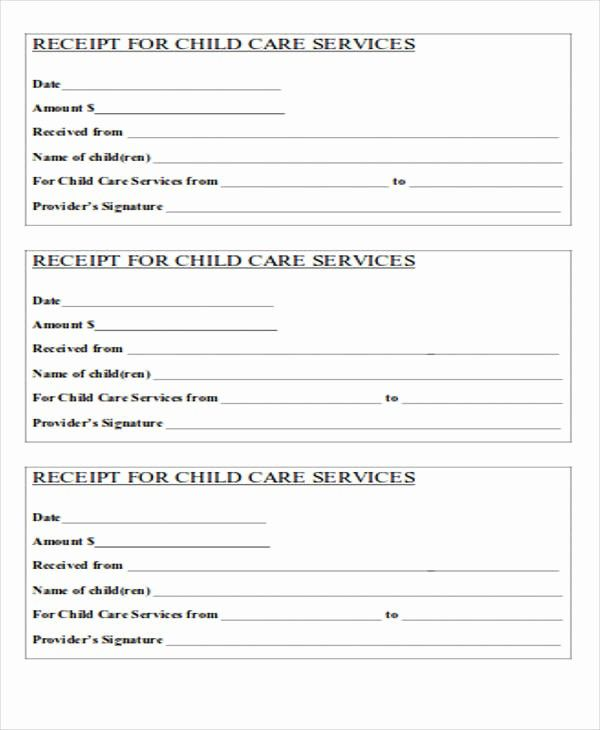 Inspirational 39 Free Receipt Forms Receipt Template Child Care Services Childcare