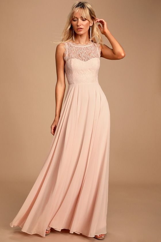 Lulus | Divine Evening Blush Pink Lace Chiffon Maxi Dress | Size X-Small | 100% Polyester #lacechiffon