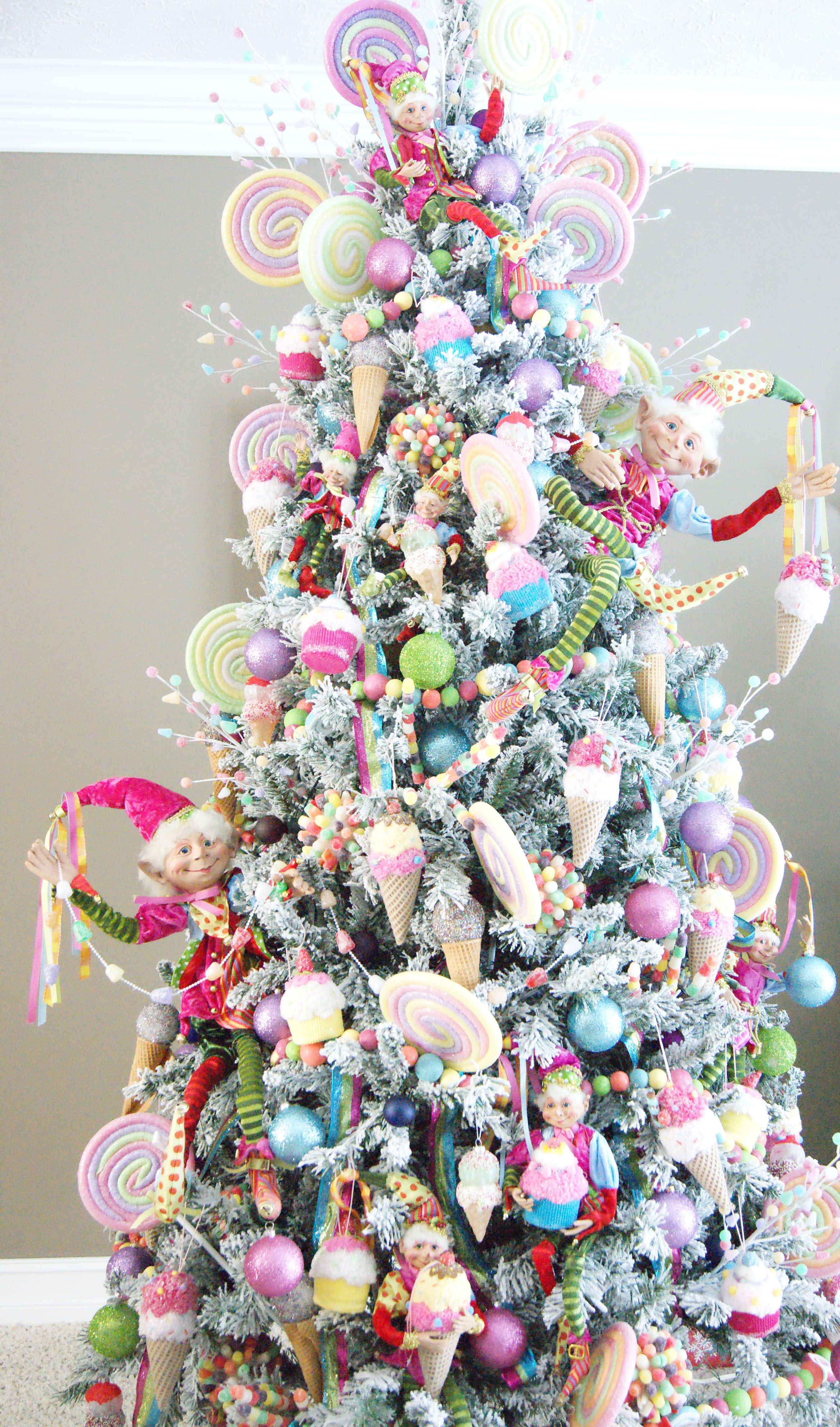 Candy Wonderland Tree Candytree Christmastree Candy Elves Lollipop Cupcake Icecream Candy Christmas Tree Christmas Tree Decorating Themes Pink Xmas