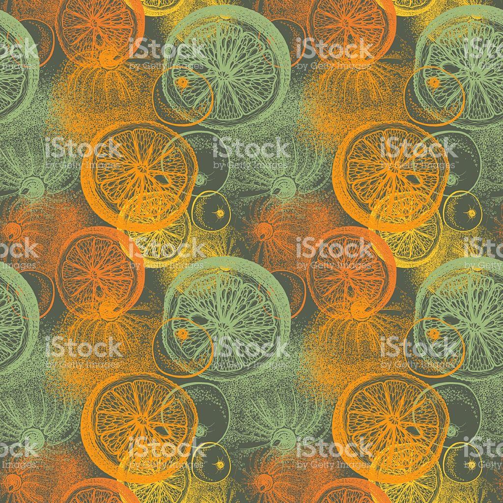 Sem costura padrão com mão desenhada laranja e citrus. - ilustração de acervo…