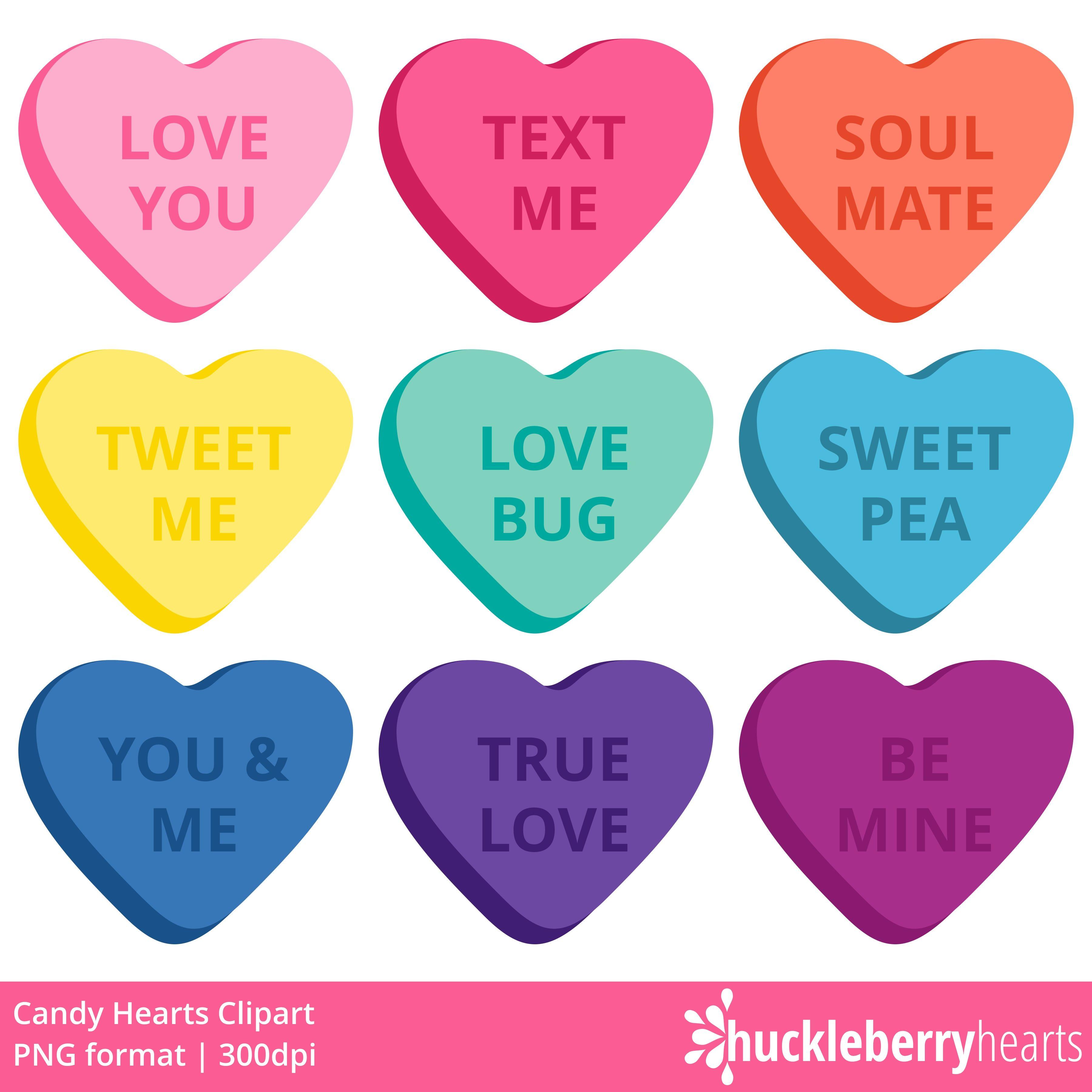Candy Hearts Clipart Clip Art Heart Candy Heart Font