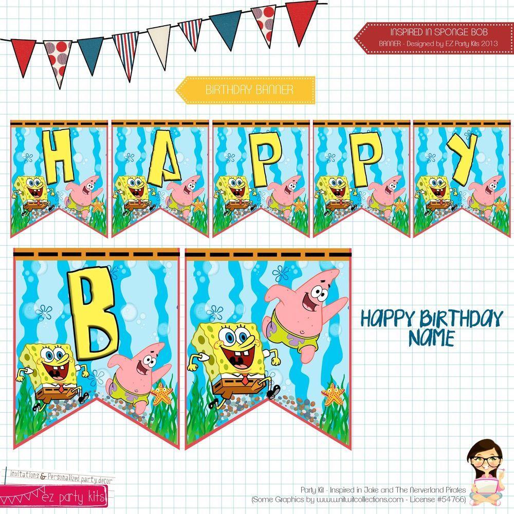 Spongebob Squarepants Printable Cupcake Toppers Food Labels