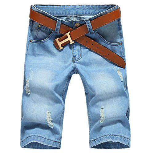 Hzcx Fashion Mens Summer Straight Light Weight Blue Denim shorts