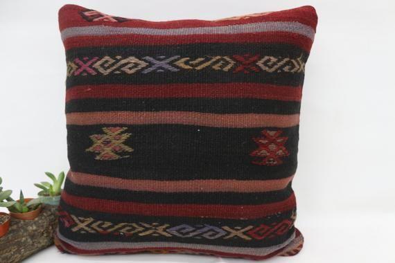 18x18 Turkey Kilim Pillow, Anatolian Pillow, Best Pillow Cover,Throw Pillows, Decorative Pillow, Red