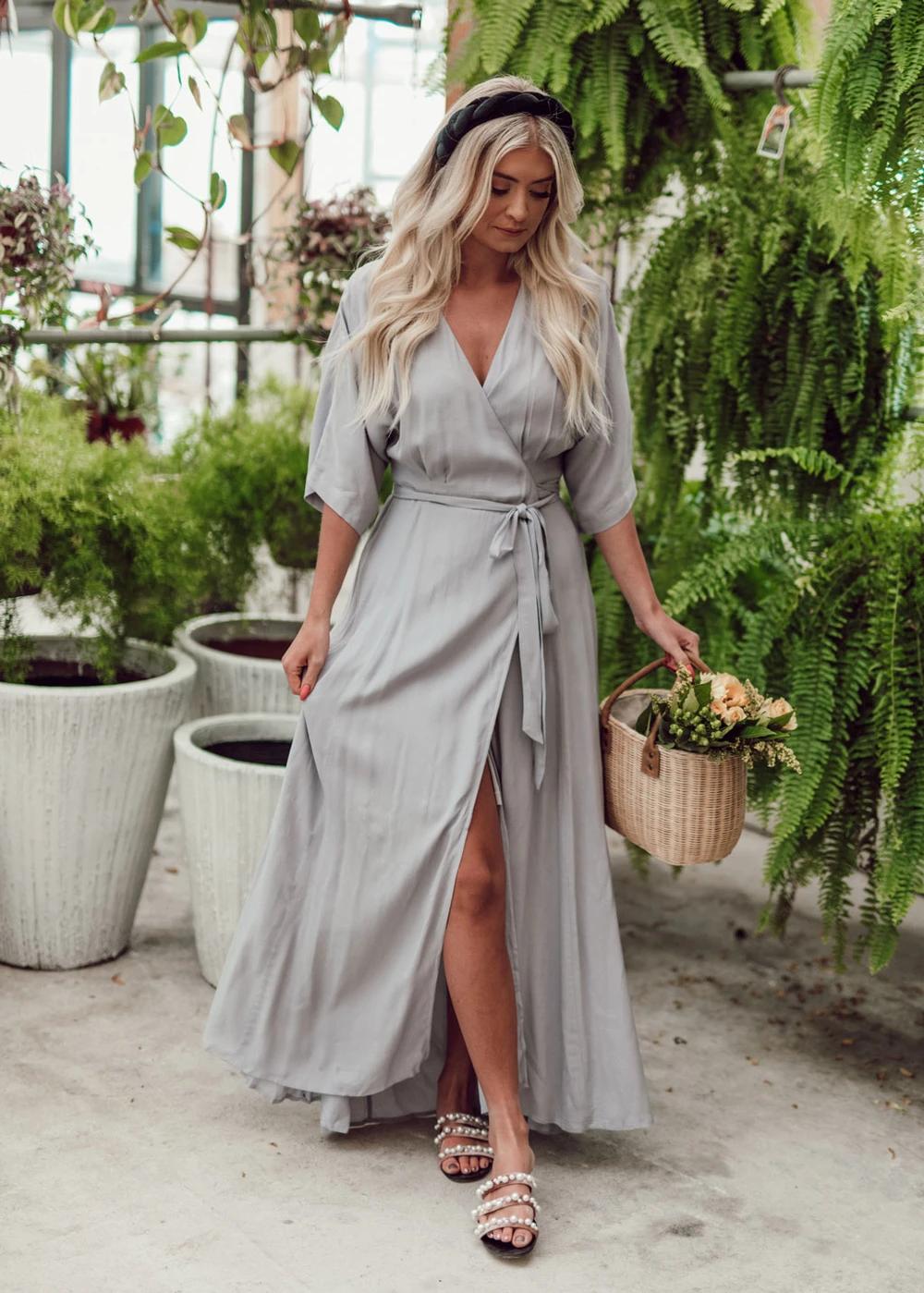 Chantilly Wrap Maxi Dress Jessakae Gray Dress Bridesmaid Dress Modest Dress Headband Tan Skin Womens Fashion S Maxi Wrap Dress Maxi Dress Dreamy Dress [ 1399 x 1000 Pixel ]