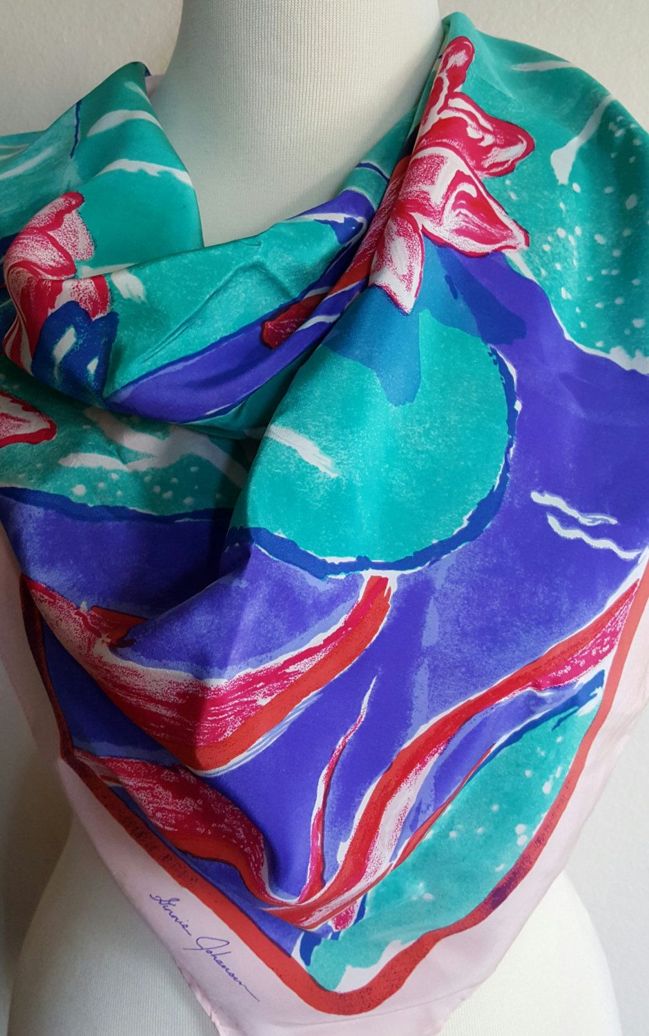 """SILK SCARF / Ginnie Johansen 1988 / Water Lilies / Large Square 34"""" / Head Scarf / Driving Scarf /  Designer Scarf by BeautyFromThePast on Etsy"""