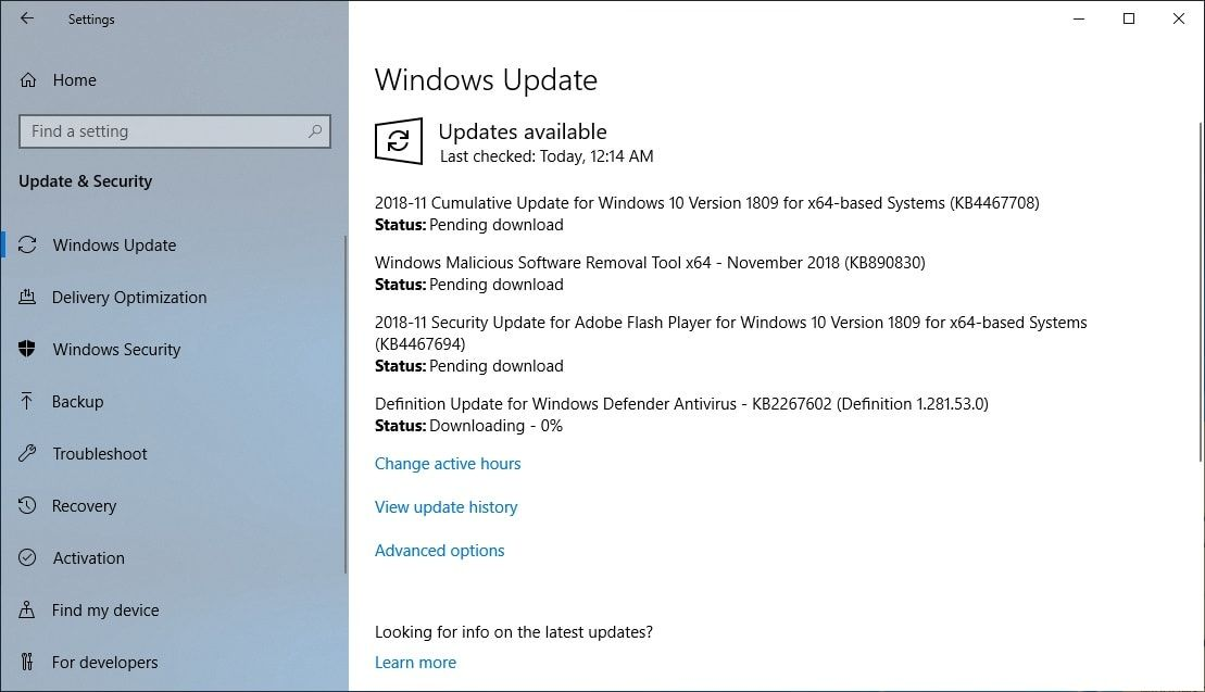 Windows 10 1809 Receives A Cumulative Update Kb4467708 Build