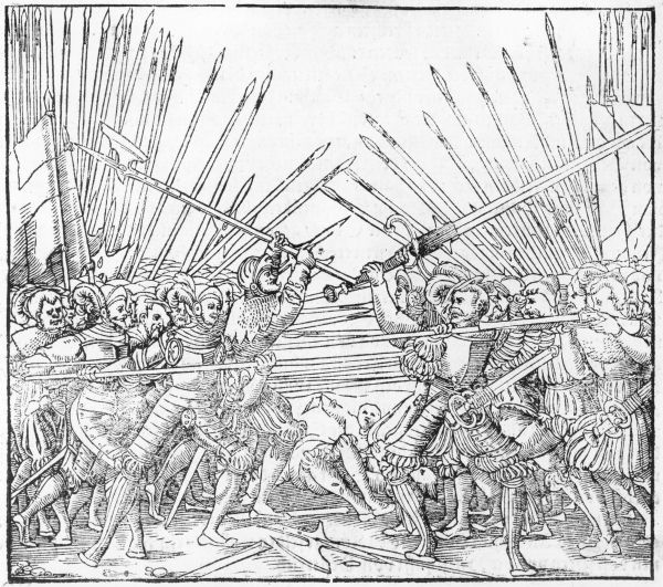 "Title: ""Battle Scene Showing Landsknechte (mercenaries"