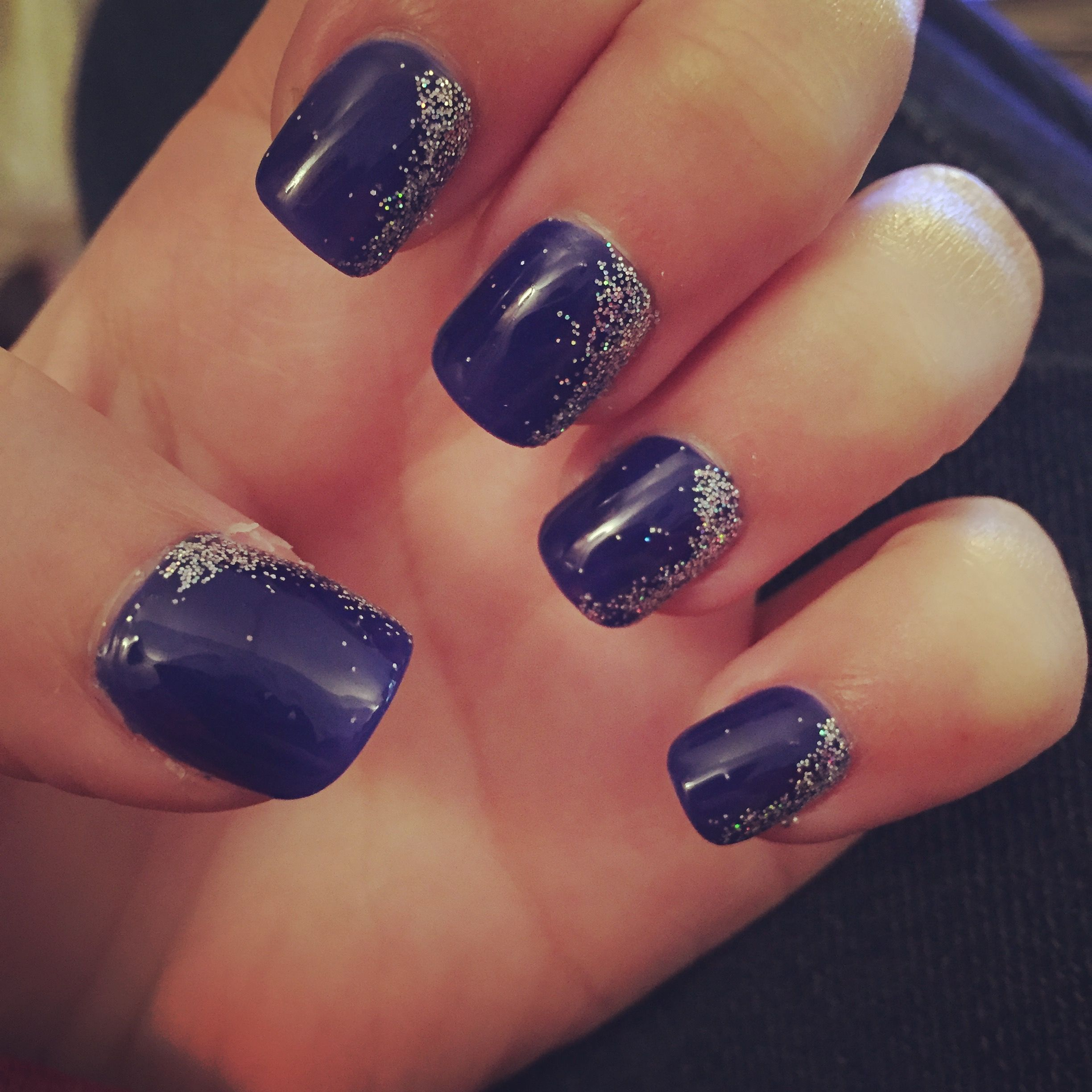 For Prom Blue Nail Ideas: New Navy Blue And Silver Glitter Nails