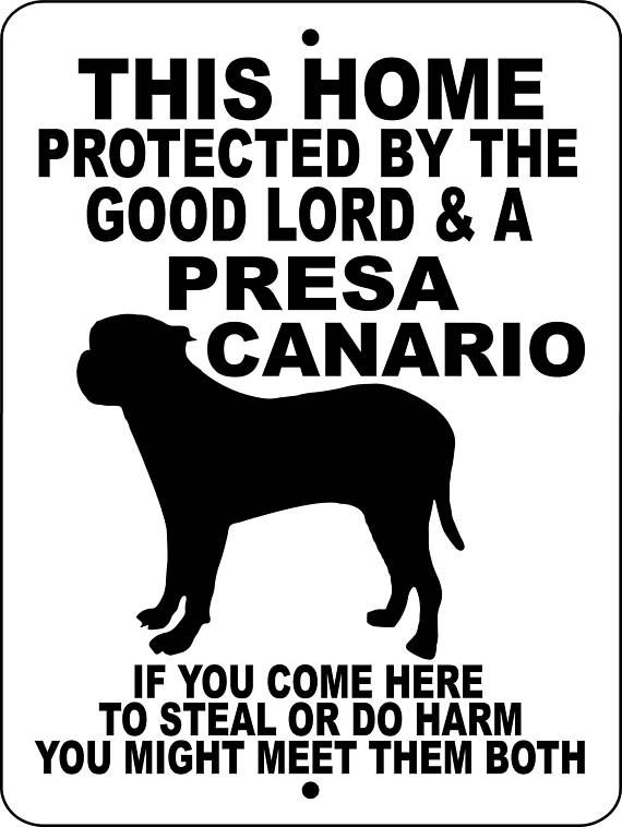 Presa Canario Dog Sign 9x12 Aluminum Glpc Products In 2018