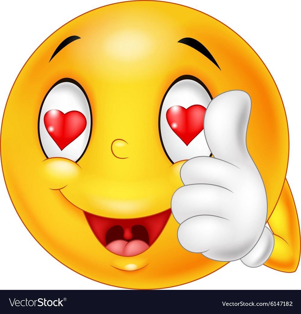 Cartoon Smiley Love Face And Giving Thumb Up Vector Image On