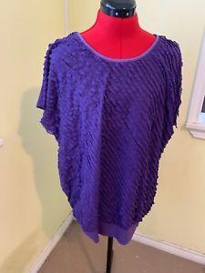 56ab8d6bee2 Rebecca Malone Women s Plus Size 2X Purple Ruffle Shirt Top Blouse Xxl 2  Career