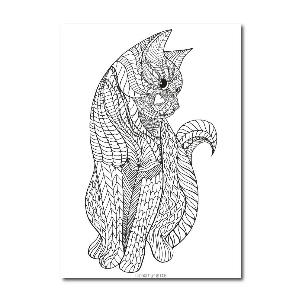 Inked cat colouring page vector pdf file etsy