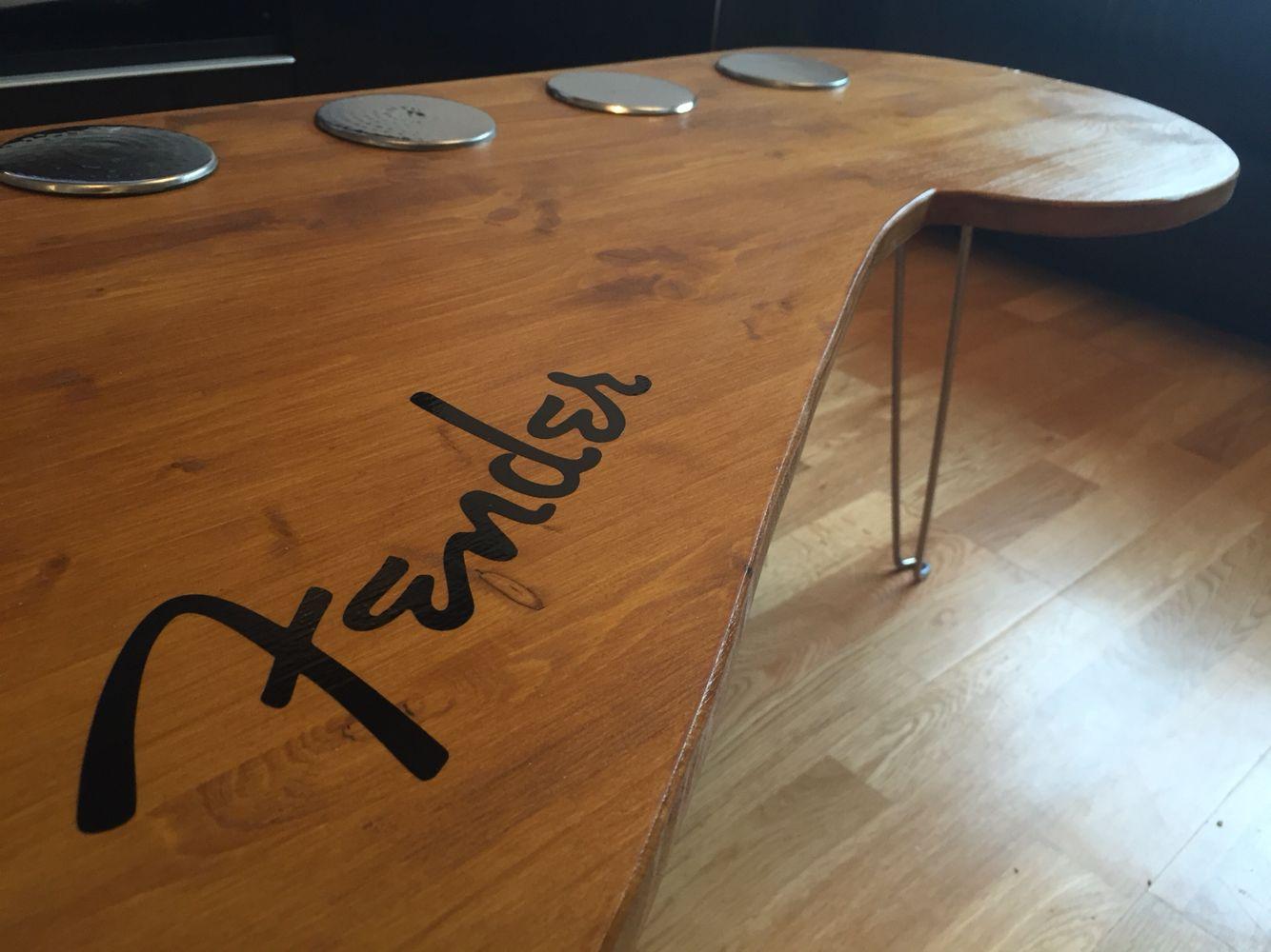 fender coffee table fender guitar coffee table in 2019 fender guitars table fender. Black Bedroom Furniture Sets. Home Design Ideas