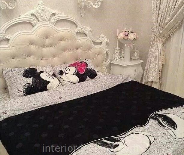 Buy Fashion Brand Mickey Mouse Bedding Set Queen Disney Mickey Minnie Mouse  Reversible Queen Bed Quilt DOONA Duvet Cutest Mickey Invigorating Mickey  And ...