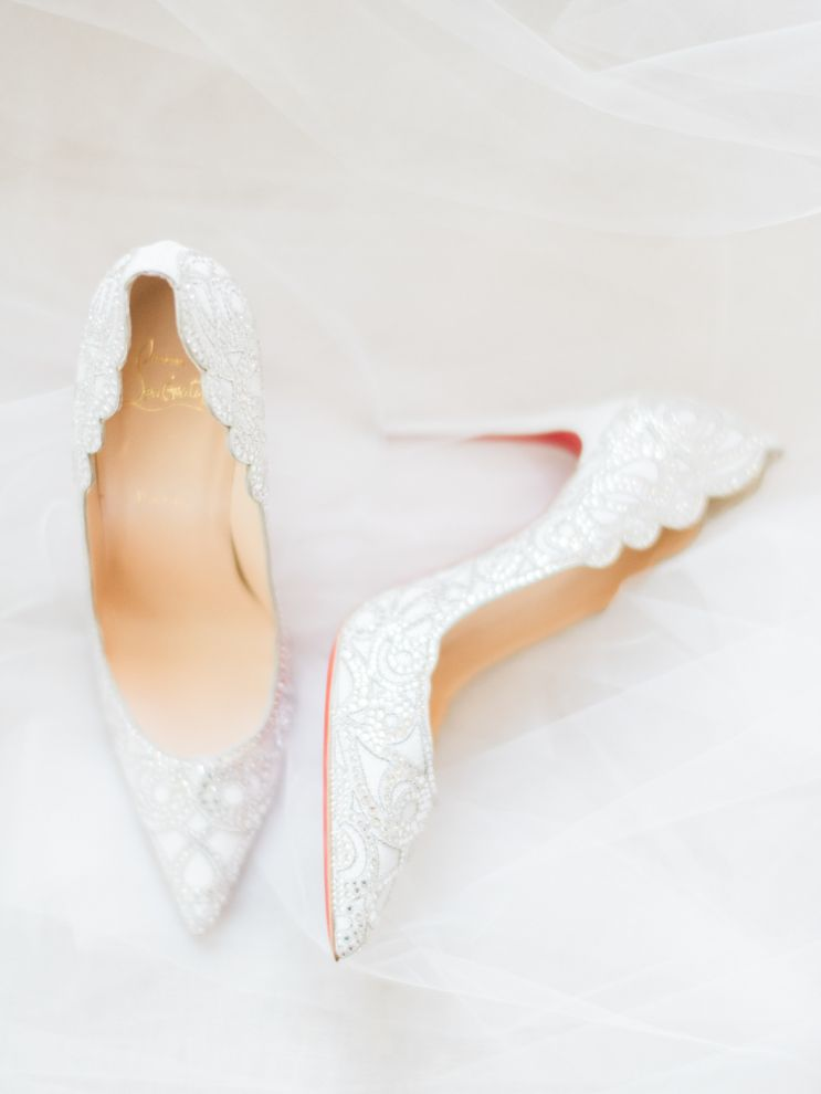 Louboutin beaded wedding heels perfect for elegant bride