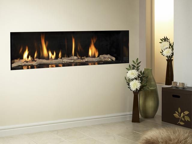 Carmelo High Efficiency Hole In Wall Gas Fire Trimless Log Fuel Bed Gas Fireplace Fireplace Wall Gas Wall Fireplace