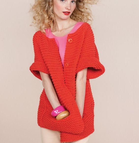 Modele tricot veste femme point mousse