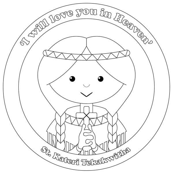 St Kateri Tekakwitha All Saints Day Coloring Page Jpg 600 601