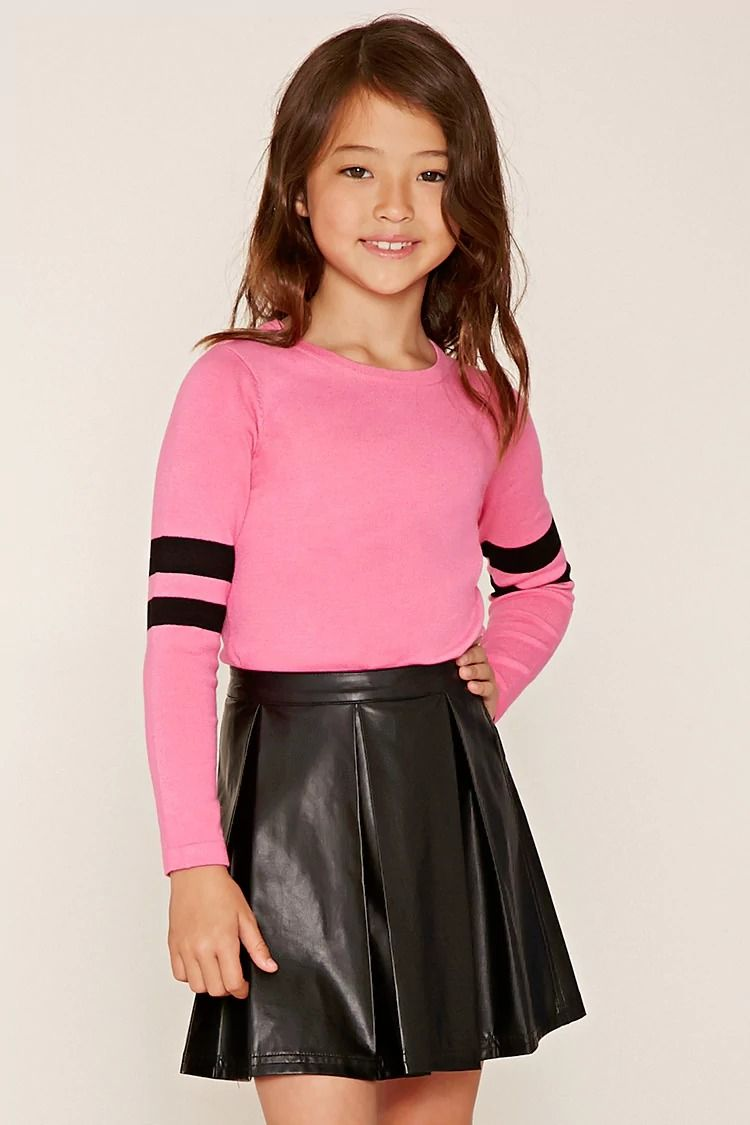 Forever 21 Girls - A knit sweater top featuring athletic-inspired ...