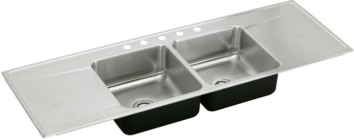 Double sink with draining board so that you can wash, then rinse ...