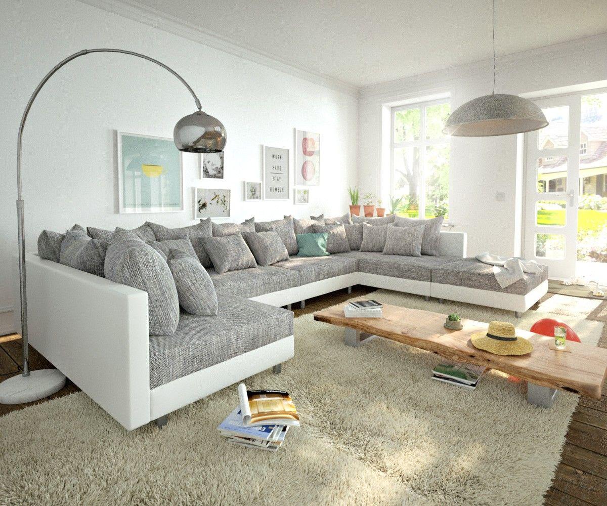 Wohnlandschaft Clovis XL Weiss Hellgrau Modulsofa Hocker Möbel Sofas  Wohnlandschaften
