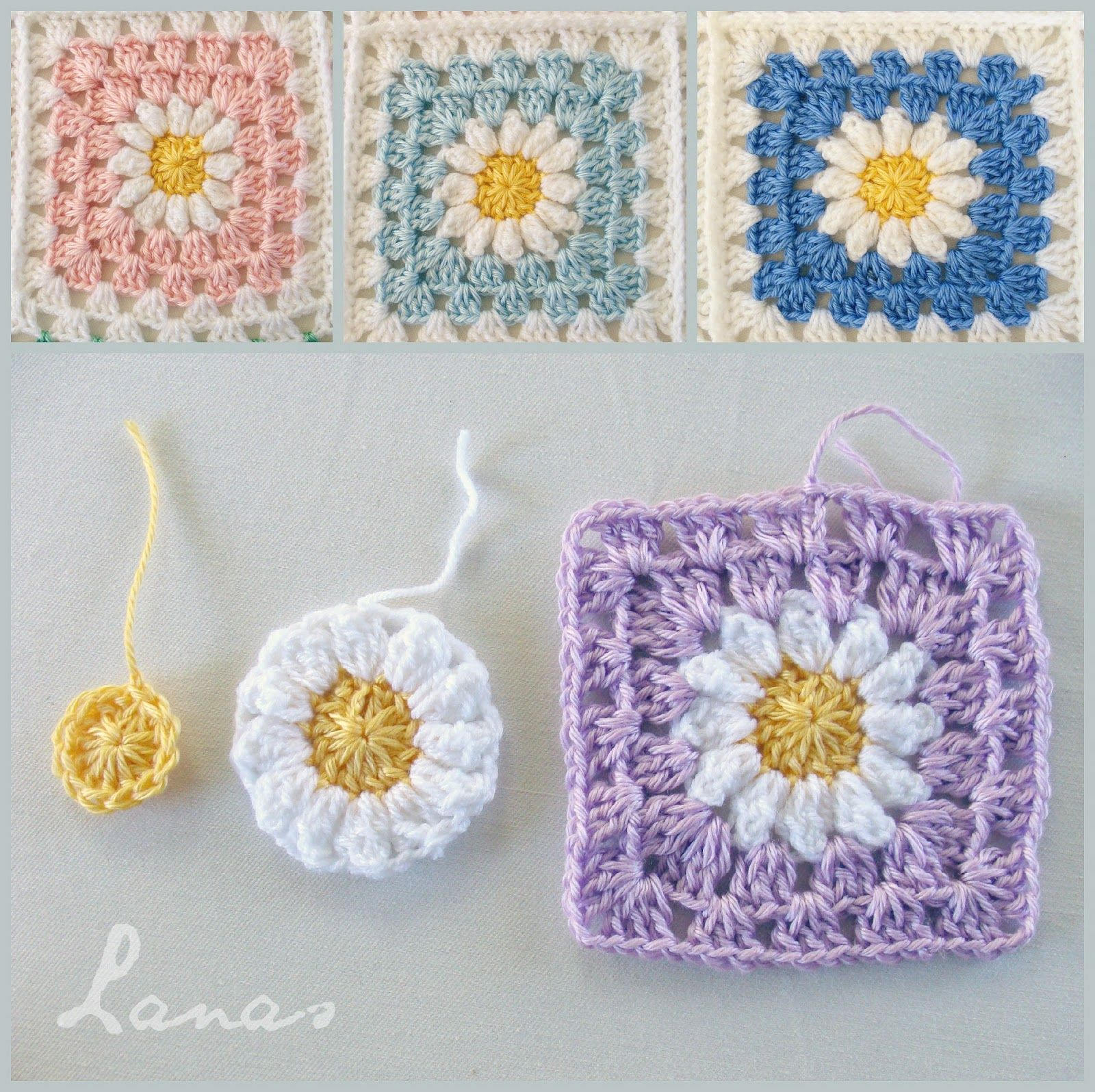 Crochet * Stash-buster) A baby blanket in granny squares with a ...