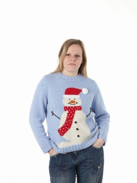 Large Adult Snowman Sweater Free Knitting Patterns Charts Knit