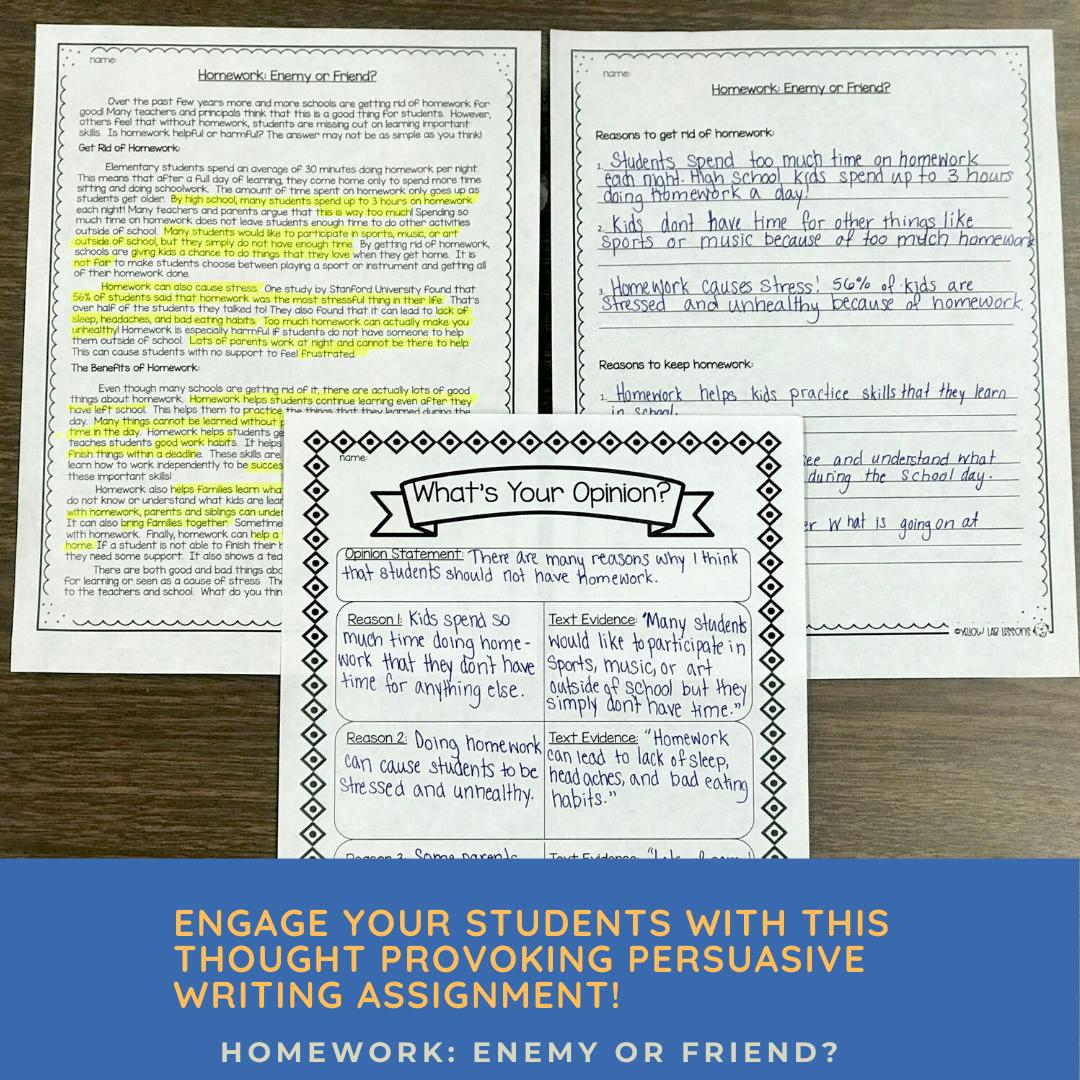 Homework Persuasive Writing   Persuasive writing, 4th ...