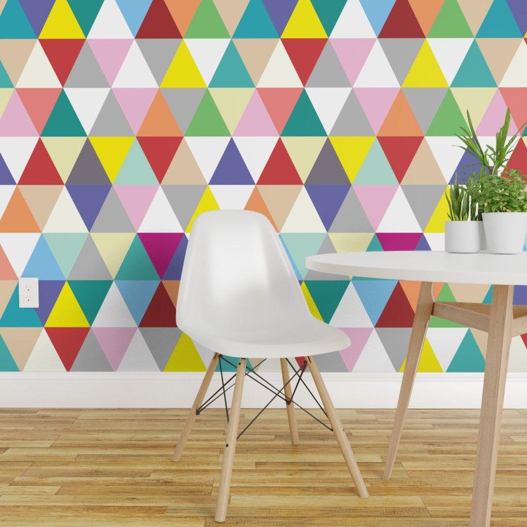 Peel And Stick Removable Wallpaper Colorful Geometric Triangles Stitchpress Walmart Com Modern Nursery Decor Removable Wallpaper Geometric Wallpaper