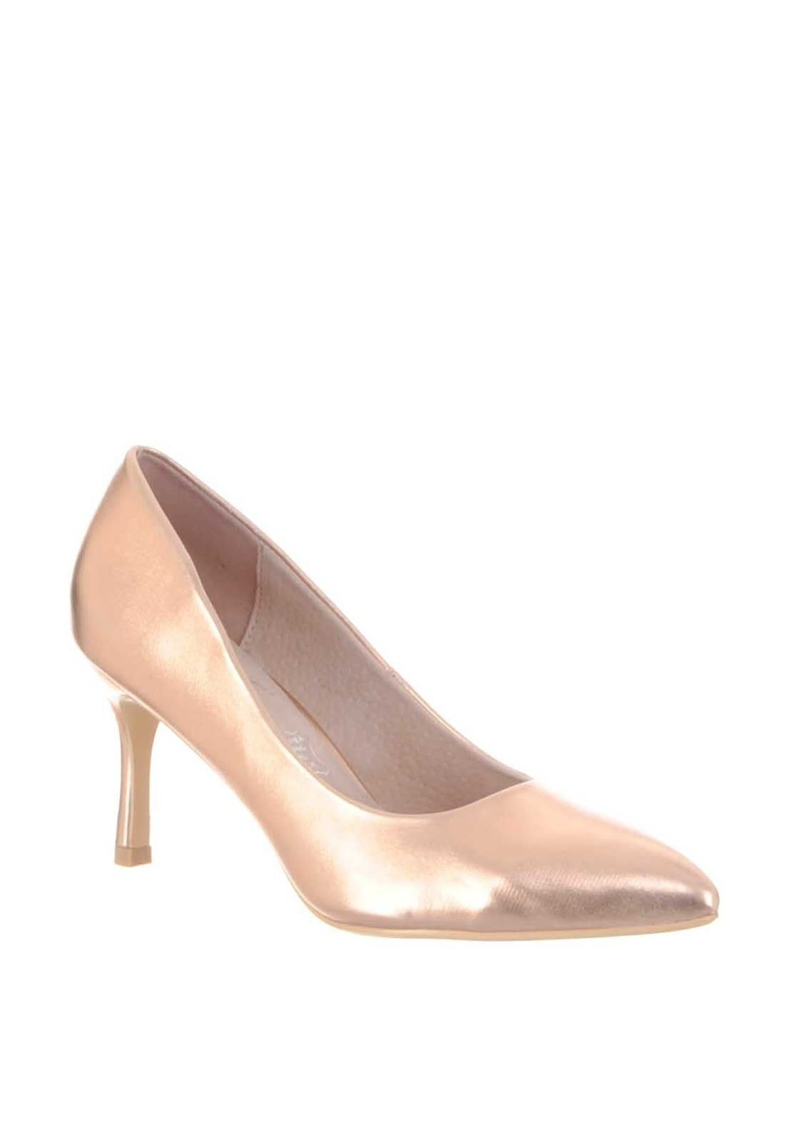 Lunar Metallic Pointed Toe Low Heeled Shoes Rose Gold Rose Gold Shoes Heels Rose Gold Shoes Gold Shoes Heels