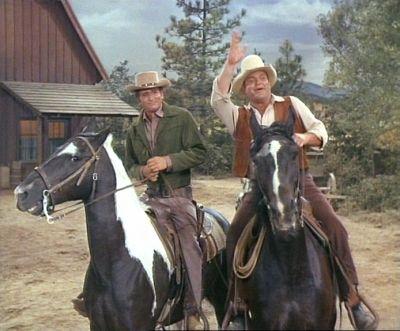 """Michael Landon (Little Joe Cartwright)...& Dan Blocker (Hoss Cartwright)  -  """"Bonanza"""""""