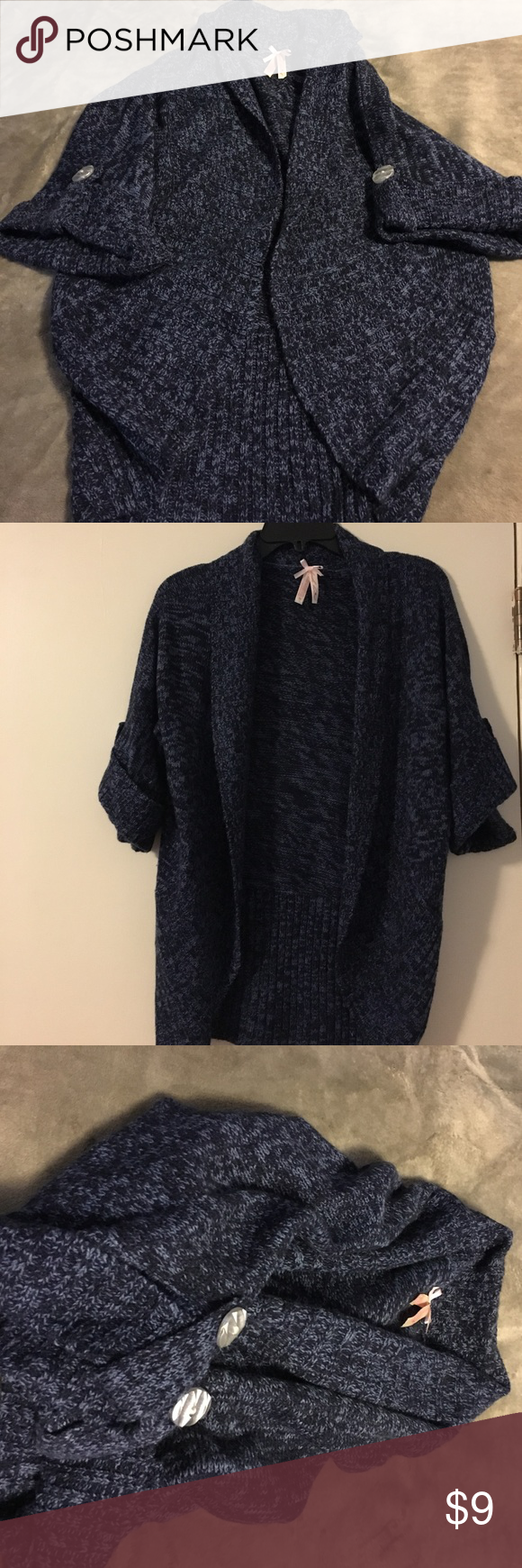 Blue shrug sweater Like new, size large shrug. Color is navy and a ...