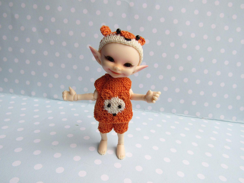 Hemd Höschen Mütze FUCHS für RealPuki BJD Puppe Handmade Outfit for Real Puki doll Fairyland von NiceMiniThings auf Etsy