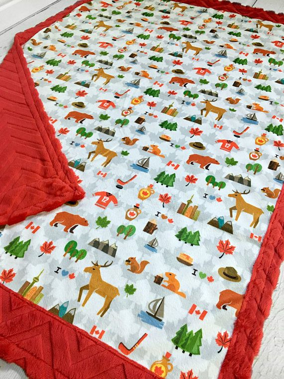 Oh Canada Minky Blanket Designer Minky Red