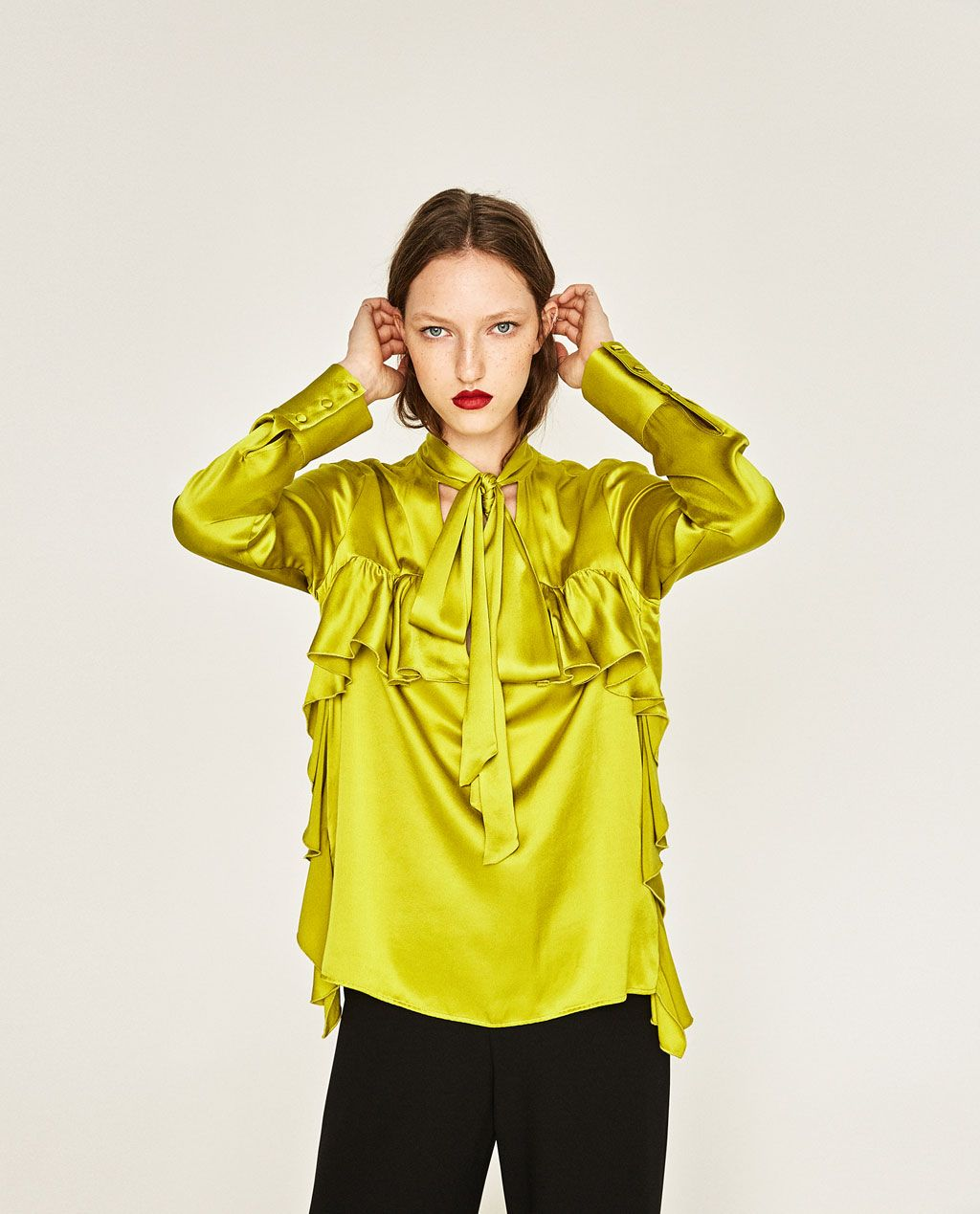 zara woman combined office. LONG-SLEEVE FRILLED BLOUSE WITH A BOW-NEW IN-WOMAN | ZARA United Zara Woman Combined Office