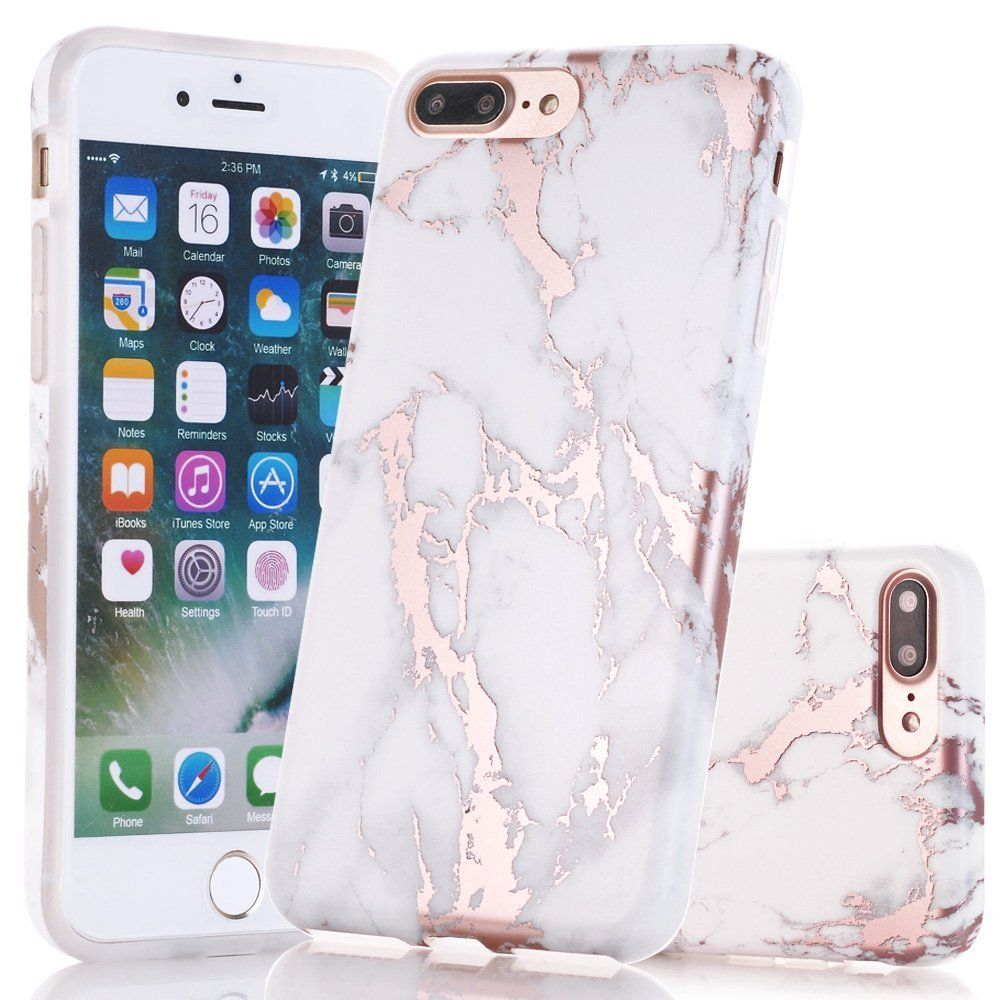 sports shoes a5f05 2ec9a Amazon.com: iPhone 7 Plus Case, Shiny Rose Gold White Marble Design ...
