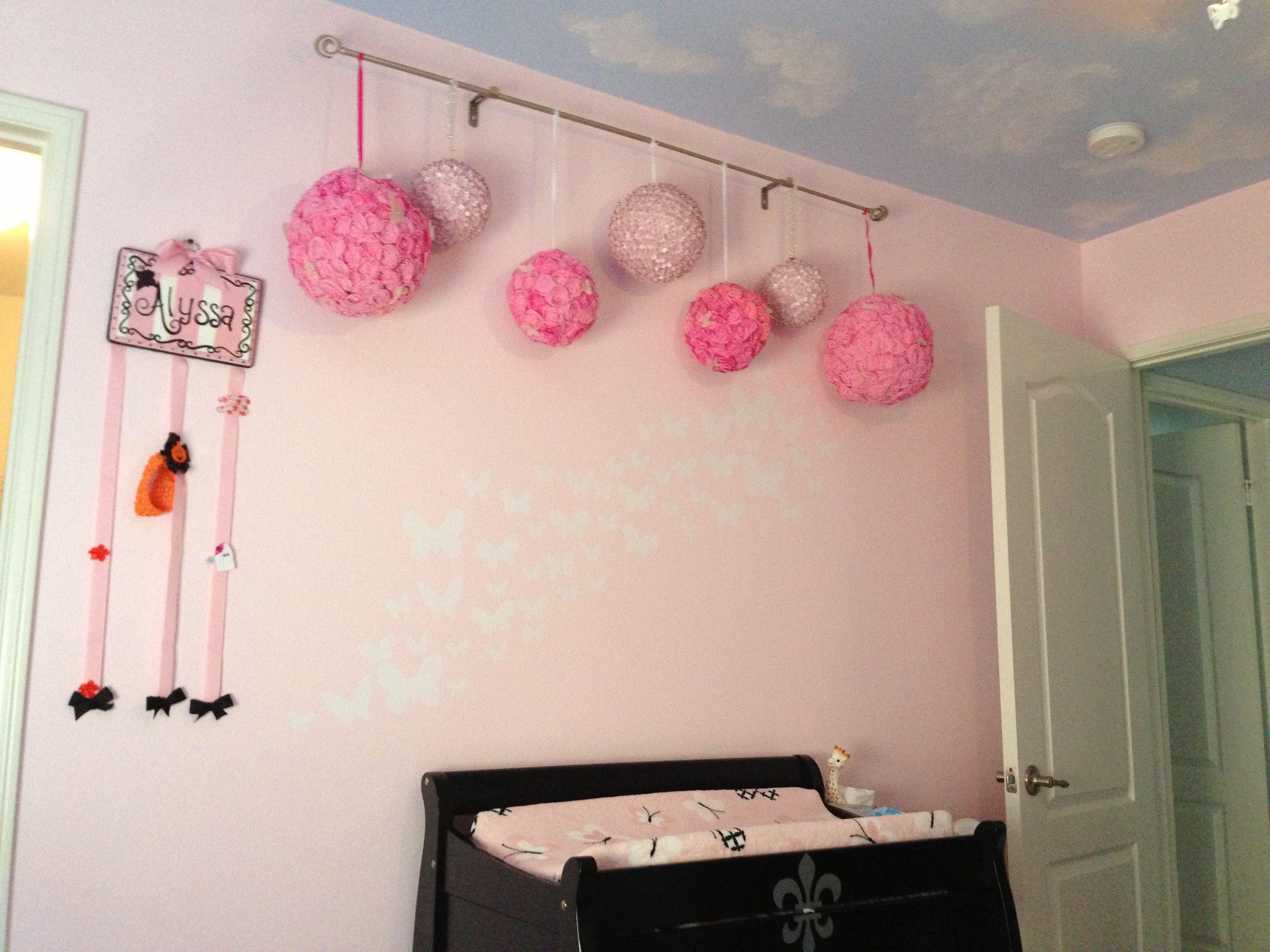 Pom Pom Balls Hung From A Curtain Rod Baby Girls Nursery