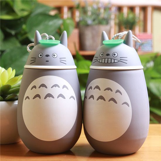 New Arrivals Kawaii Cartoon Totoro Novelty thermoses Cup Glass Stainless Steel Heat preservation Insulation water bottle HJ71