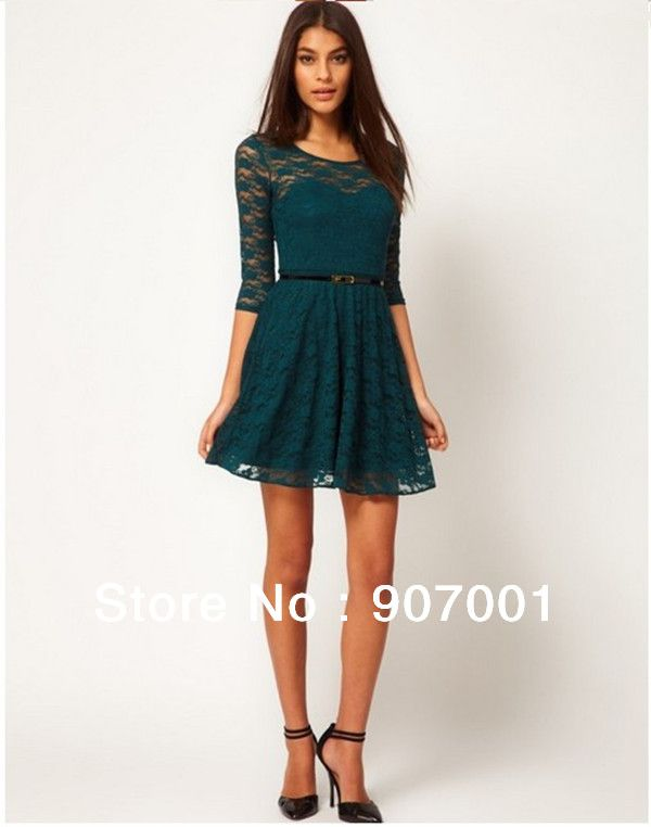 d6ce7d7966ae88 2013 NEW Excellent Quality, European Style Half Sleeve Lace Dress With Belt  XM-177